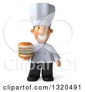 Clipart Of A 3d Short White Male Chef Holding A Double Cheeseburger Royalty Free Illustration