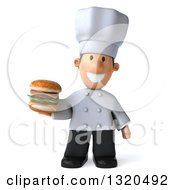 Clipart Of A 3d Short White Male Chef Holding A Double Cheeseburger 2 Royalty Free Illustration