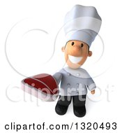 Clipart Of A 3d Short White Male Chef Holding Up A Beef Steak Royalty Free Illustration