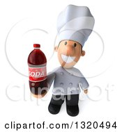Clipart Of A 3d Short White Male Chef Holding Up A Soda Bottle Royalty Free Illustration