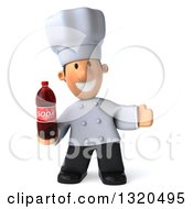 Clipart Of A 3d Short White Male Chef Welcoming And Holding A Soda Bottle Royalty Free Illustration