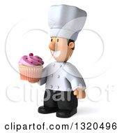 Clipart Of A 3d Short White Male Chef Facing Left And Holding A Pink Frosted Cupcake Royalty Free Illustration