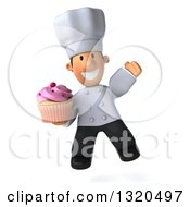Clipart Of A 3d Short White Male Chef Jumping And Holding A Pink Frosted Cupcake Royalty Free Illustration
