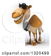 Clipart Of A 3d Full Length Business Camel Wearing Sunglasses And Looking Around A Sign Royalty Free Illustration