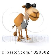 Clipart Of A 3d Business Camel Wearing Sunglasses And Walking Slightly To The Right Royalty Free Illustration