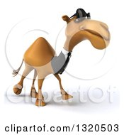 Clipart Of A 3d Business Camel Wearing Sunglasses And Walking Slightly To The Right 2 Royalty Free Illustration