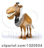 Clipart Of A 3d Arabian Business Camel Grinning And Facing Left Royalty Free Illustration