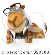 Clipart Of A 3d Besepectacled Arabian Business Camel Looking Over A Sign Royalty Free Illustration