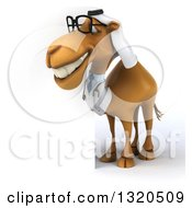 Clipart Of A 3d Bespectacled Arabian Doctor Camel Looking Around A Sign 2 Royalty Free Illustration