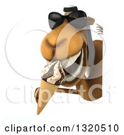Clipart Of A 3d Arabian Camel Wearing Sunglasses And Eating A Waffle Ice Cream Cone Around A Sign Royalty Free Illustration