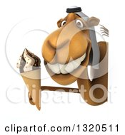 Clipart Of A 3d Arabian Camel Holding A Waffle Ice Cream Cone Around A Sign Royalty Free Illustration