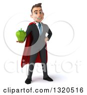 Clipart Of A 3d Happy Young White Super Businessman Holding A Green Bell Pepper Royalty Free Illustration