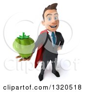 Clipart Of A 3d Happy Young White Super Businessman Holding Up A Green Bell Pepper Royalty Free Illustration