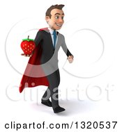 Clipart Of A 3d Happy Young White Super Businessman Walking To The Right Holding A Strawberry Royalty Free Illustration