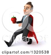 Clipart Of A 3d Happy Young White Super Businessman Speed Walking To The Left Holding A Strawberry Royalty Free Illustration