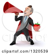 Clipart Of A 3d Happy Young White Super Businessman Holding A Strawberry And Announcing With A Megaphone Royalty Free Illustration