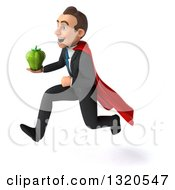 Clipart Of A 3d Happy Young White Super Businessman Sprinting To The Left And Holding A Bell Pepper Royalty Free Illustration