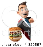 Clipart Of A 3d Happy Young White Super Businessman Holding A Double Cheeseburger Around A Sign Royalty Free Illustration