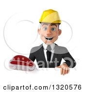 Clipart Of A 3d Young White Male Architect Holding A Beef Steak Over A Sign Royalty Free Illustration