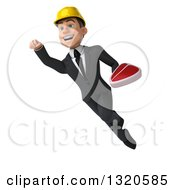 Clipart Of A 3d Young White Male Architect Flying And Holding A Beef Steak Royalty Free Illustration