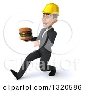 Clipart Of A 3d Young White Male Architect Speed Walking To The Left And Holding A Double Cheeseburger Royalty Free Illustration