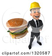 Clipart Of A 3d Young White Male Architect Holding Up A Double Cheeseburger Royalty Free Illustration