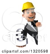 Clipart Of A 3d Young White Male Architect Holding A Euro Symbol Around A Sign Royalty Free Illustration