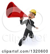 Clipart Of A 3d Young White Male Architect Announcing Upwards With A Megaphone Royalty Free Illustration