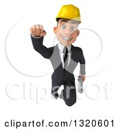 Clipart Of A 3d Young White Male Architect Holding Plans And Flying Royalty Free Illustration