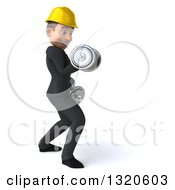 Clipart Of A 3d Young White Male Architect Working Out Facing Right Doing Bicep Curls With Dumbbells Royalty Free Illustration