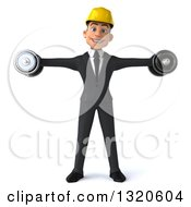 Clipart Of A 3d Young White Male Architect Working Out Doing Lateral Raises With Dumbbells Royalty Free Illustration