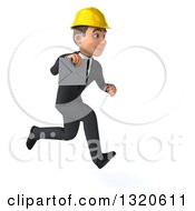 Clipart Of A 3d Young White Male Architect Sprinting To The Right And Holding An Envelope Royalty Free Illustration