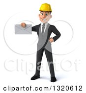 Clipart Of A 3d Young White Male Architect Holding An Envelope Royalty Free Illustration