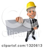 Clipart Of A 3d Young White Male Architect Holding Up An Envelope Royalty Free Illustration