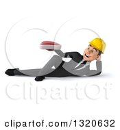 Clipart Of A 3d Young White Male Architect Resting On His Side And Holding A Beef Steak Royalty Free Illustration