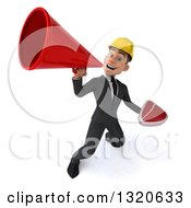 Clipart Of A 3d Young White Male Architect Holding A Beef Steak And Announcing Upwards With A Megaphone Royalty Free Illustration