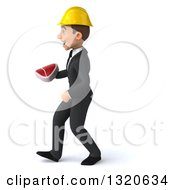 Clipart Of A 3d Young White Male Architect Holding A Beef Steak And Walking To The Left Royalty Free Illustration