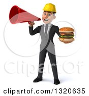 Clipart Of A 3d Young White Male Architect Holding A Double Cheeseburger And Announcing With A Megaphone Royalty Free Illustration