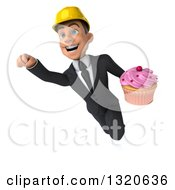 Clipart Of A 3d Young White Male Architect Flying And Holding A Cupcake Royalty Free Illustration