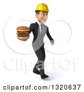 Clipart Of A 3d Young White Male Architect Walking To The Right And Holding A Double Cheeseburger Royalty Free Illustration