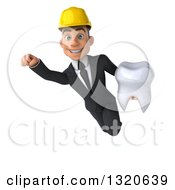 Clipart Of A 3d Young White Male Architect Flying And Holding A Tooth Royalty Free Illustration