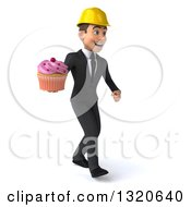 Clipart Of A 3d Young White Male Architect Walking To The Right And Holding A Cupcake Royalty Free Illustration