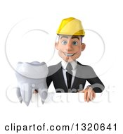 Clipart Of A 3d Young White Male Architect Holding A Tooth Over A Heart Royalty Free Illustration