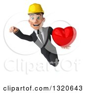 Clipart Of A 3d Young White Male Architect Flying And Holding A Heart 2 Royalty Free Illustration