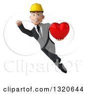 Clipart Of A 3d Young White Male Architect Flying And Holding A Heart Royalty Free Illustration