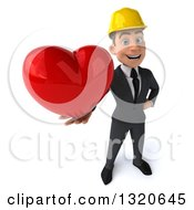 Clipart Of A 3d Young White Male Architect Holding Up A Heart Royalty Free Illustration