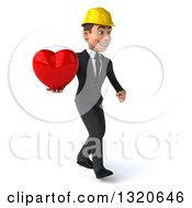 Clipart Of A 3d Young White Male Architect Walking To The Right And Holding A Heart Royalty Free Illustration