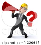Clipart Of A 3d Young White Male Architect Holding A Question Mark And Announcing To The Left With A Megaphone Royalty Free Illustration