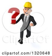 Clipart Of A 3d Young White Male Architect Sprinting And Holding A Question Mark Royalty Free Illustration