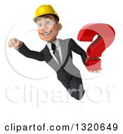 Clipart Of A 3d Young White Male Architect Flying And Holding A Question Mark Royalty Free Illustration